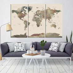34054 - Large Wall Art World Map Canvas Print- Rustic Watercolor World Map Travel Canvas Print- Modern XXL Large Wall Art World Map Canvas Print Framed World Map, World Map Canvas, World Map Wall Art, World Map Poster, Art World, Large Canvas Wall Art, Extra Large Wall Art, Canvas Art, Hanging Canvas