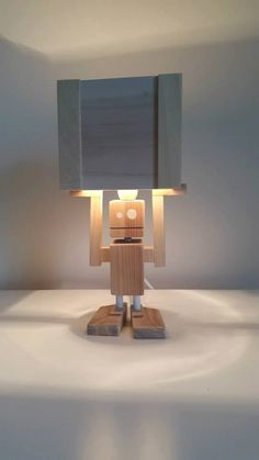 Isiah  Robot Table Lamp  Reclaimed Wood by CraftyandCoUK on Etsy