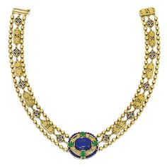 Gold, Lapis Lazuli, Emerald and Enamel Necklace, Tiffany & Co., Designed by Louis Comfort Tiffany with Meta K. Louis Comfort Tiffany, Tiffany Necklace, Tiffany Jewelry, Jeanne Lanvin, New York February, Tiffany & Co., Lapis Lazuli Jewelry, Hammered Gold, Art Nouveau Jewelry