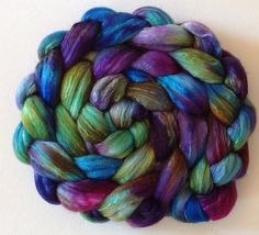 Spring/summer SAL Iridescence Hand Dyed roving 3.5ozs polwarth mulberry silk 70/30 made to order