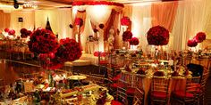 Beautiful Gold Wedding Table Decorations And Red And Black Wedding Table Decorations Black And Gold Wedding Reception Decorations Red Centerpiece Theme White 85 Pink And Gold Wedding Table Ideas Red Wedding Receptions, Ballroom Wedding Reception, Red Wedding Decorations, Wedding Reception Flowers, Engagement Decorations, Wedding Ideas, Reception Ideas, Wedding Ceremonies, Decor Wedding