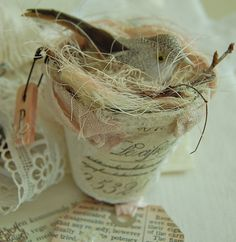 peat pot by Sweet Vintage Rose Cottage, via Flickr