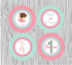DIY  Pink Ballerina Birthday Cupcake Toppers by PinkMonkeyPrints