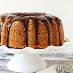 A moist, flavorful banana bundt cake finished with chocolate ganache.