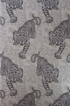 Tyger Tyger Wallpaper in Metallic Silver by Matthew Williamson for Osborne & Little
