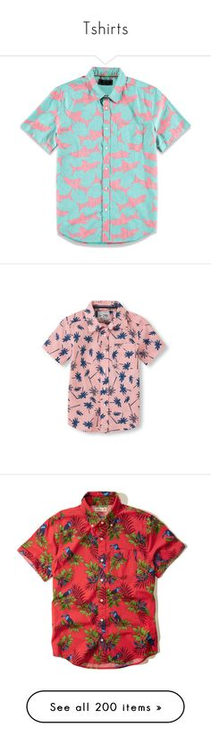 """""""Tshirts"""" by love331 ❤ liked on Polyvore featuring tops, shirts, jersey, red top, button down collar shirts, logo shirts, button up collar shirt, button up shirts, print shirts and reversible top"""