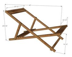 Wood Folding Sling Chair, Deck Chair or Beach Chair - Adult Size