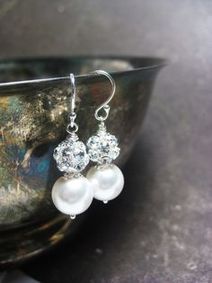 Wedding Earrings White Pearl Earrings Bridal Jewelry by BGBJewelry, $20.00