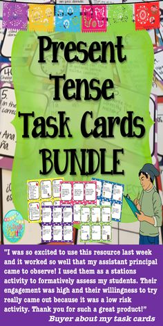 Get students up and moving with these Spanish task cards! Versatile and fun, task cards are a great tool to increase student engagement and understanding. This bundle has five sets: present tense of regular verbs, present tense of regular and common irregular verbs (IR, SER, ESTAR, JUGAR y TENER), present tense of -AR verbs, present tense of -ER verbs, and present tense of -IR verbs.