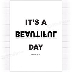 Poster, It's a beautiful day