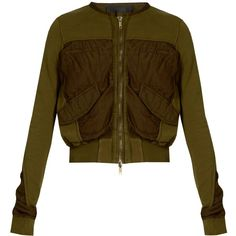 Haider Ackermann Perth cropped bomber jacket (5.105 HRK) ❤ liked on Polyvore featuring outerwear, jackets, khaki, cotton jersey, cropped bomber jacket, brown bomber jacket, bomber style jacket and drapey jacket