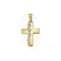 Ένας πρωτότυπος και μοντέρνος σταυρός γυναικείος ή βαπτιστικός του οίκου ΤΡΙΑΝΤΟΣ από χρυσό Κ14 με ζιργκόν και ένθετο λευκό design #τριαντος #γυναικειος #βαφτιση #χρυσο #σταυρος