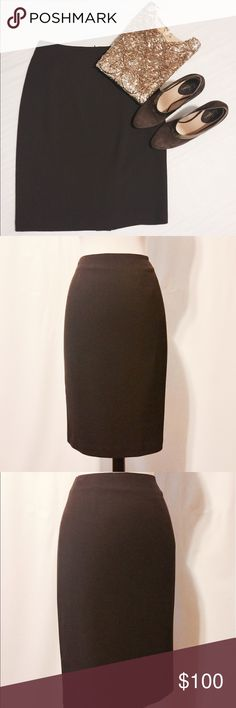 "✨ Ellen Tracey Chocolate Brown Midi Pencil Skirt Professional wardrobe essential! Featuring classic no waist pencil miniskirt, darted back, back invisible zipper closure, back kick pleat. Fully lined. 50% Viscose 49% Wool 3% Spandex Dry Clean Only 29"" Waist 38"" Hips 36"" Sweep 23"" Overall length Ellen Tracy Skirts Pencil"