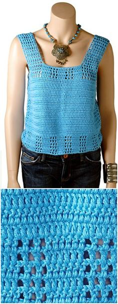 I have made a big list of free #crochet #Top #patterns for your inspiration. This list is contained links and details of each pattern!Beth Tank Free Crochet Pattern