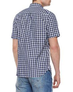 Gingham Short-Sleeve Woven Shirt, Blue Pattern