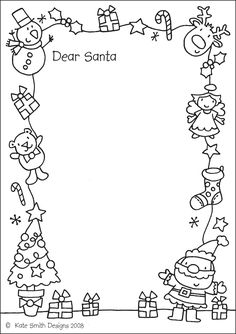 Letter to Santa Coloring Pages. 20 Letter to Santa Coloring Pages. Free Printable Christmas Coloring Pages with Jokes Preschool Christmas, Noel Christmas, Christmas Activities, Christmas Printables, Christmas Colors, Winter Christmas, Christmas Border, Christmas Doodles, Santa Coloring Pages