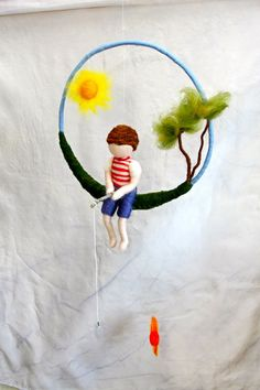 Waldorf inspired needle felted boy mobile The fishing by MagicWool, $72.00