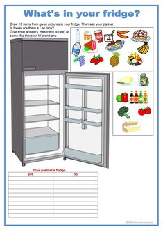 Pair work - food - What's in your fridge - English ESL Worksheets English Games, English Activities, English Lessons, Learn English, Uncountable Nouns, Handout, Work Meals, Worksheets For Kids, Teaching English