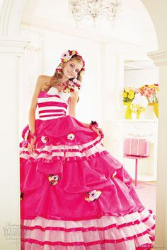 Barbie Bridal pink wedding dresses 2012.    I love the pink and white stripped design on this gown!!!