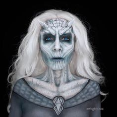 White walker look ❄️by @artbybmazz to celebrate #gameofthrones season7 final #mua #makeup #mehron #mehronmakeup #got7 #gotseason7 #makeupartist #sfx #creativemakeup #whitewalker #sfxmakeup #makeup #winteriscoming #haloweenmakeup