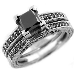 #princesscutblackdiamond #blackdiamond #blackgoldweddingrings Gorgeous 1.96ct Princess-Cut Black Diamond Engagement Ring Set 14k White Gold by Epic Jewels - See more at: http://blackdiamondgemstone.com/jewelry/wedding-anniversary/wedding-rings/gorgeous-196ct-princesscut-black-diamond-engagement-ring-set-14k-white-gold-com/