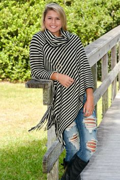 Black and Tan Striped Poncho Fringe Top Shop Simply Me Boutique Shop SMB – Simply Me Boutique