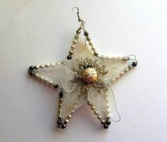 Vtg Ornament Spun Cotton Mercury Glass Net Fabric Star | eBay