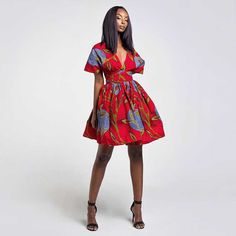 Red African print ankara fashion off shoulder multiway infinity gathered classy casual dress Infinity Clothing, Infinity Dress, African Dresses For Women, African Fashion Dresses, Ankara Fashion, Dress Fashion, Fashion Outfits, Shweshwe Dresses, Wedding Dress With Pockets