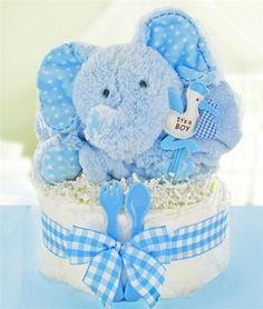 All Diaper Cakes - Gingham Boy One Tier Diaper Cake, $49.95 (http://alldiapercakes.com/gingham-boy-one-tier-diaper-cake/)