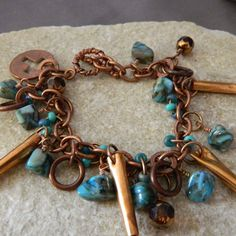 Turquoise and Copper Charm Bracelet with Penny by WireNWhimsy