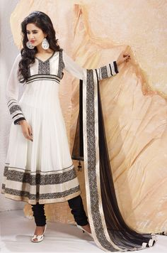 Off White Faux Georgette Anarkali Churidar Kameez  For Order or Inquiry Mail Us:- Email:- raksha@silk-india.com