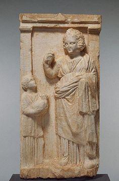 "Marble Gravestone of Demainete; Greek, Athens, c. 310 B.C.; 38"" x 18-11/16"" x 5-7/8""; Getty Museum, Malibu"