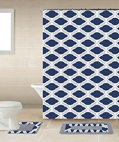 thea navy blue gray chain 15piece bathroom accessory set 2 bath mats shower curtain 12 fabric