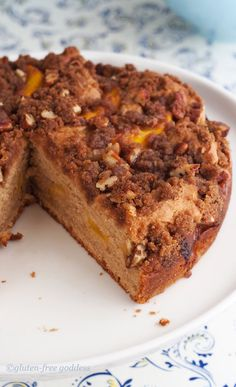 So good- gluten free peach cake with cinnamon streusel topping. Worth baking early in the day while the kitchen is cool.