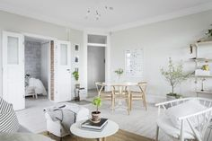 Gravity Home: Serene Scandinavian Apartment Scandinavian Style, Scandinavian Apartment, Scandinavian Interiors, Bright Apartment, One Bedroom Apartment, Living Room Designs, Living Room Decor, Bedroom Decor, Dining Room