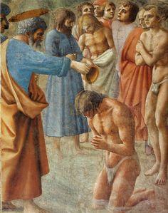 Masaccio (Tommaso di Ser Giovanni di Simone) ~ Baptism of the Neophytes, c.1424-25