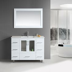 Buy the Design Element White Direct. Shop for the Design Element White Stanton Vanity Set with Cabinet, Vanity Top, Single Integrated Sink, Finish Matching Mirror and Drain Assembly and save. 48 Vanity, Single Sink Bathroom Vanity, Modern Vanity, White Vanity, Hall Bathroom, White Bathroom Decor, Bathroom Ideas, Bath Ideas, Bathroom Furniture