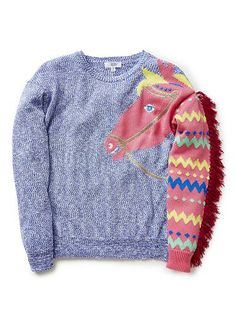 Cotton/Nylon blend Sweater. Fully fashioned speckle knit sweater with horse intarsia. Features sleeve with patterned neck and fringed mane on wearers left. Regular fitting silhouette. Available in Bright Sky.