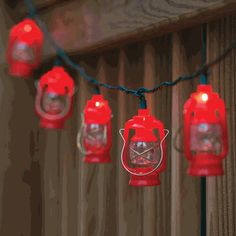 Lantern Outdoor String Lights - CLEARANCE - Add rustic charm to your party with the string of ten vintage-style red Lantern Outdoor String Lights. Weather resistant for indoor or outdoor use. Includes fuse and two extra bulbs. Lantern String Lights, Patio String Lights, Led Fairy Lights, Red Lantern, Patio Lanterns, Lanterns Decor, Outdoor Lantern, Black Forest Decor, Patio Lighting