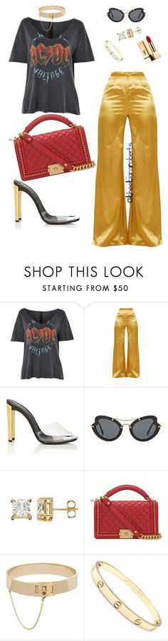 """""""Friday Night Lights"""" by theetiararoberts ❤ liked on Polyvore featuring Topshop, Giuseppe Zanotti, Miu Miu, Chanel, Eddie Borgo, Cartier and Yves Saint Laurent"""