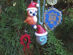 World of Warcraft Inspired Holiday Ornaments: Santa Hearthstone, Horde Symbol, Alliance Symbol and Holiday Pepe!!