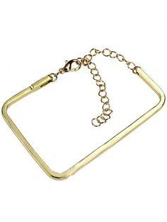 Gold Rectangle Chain Bracelet