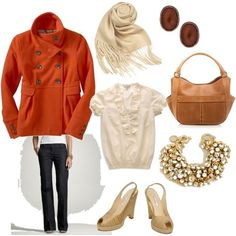 Ruffled shirt, denim trousers, fringed scarf, girly pea coat, leather tote, shiny baubles, and sling backs.  Orange, navy, tan, cream, and gold.
