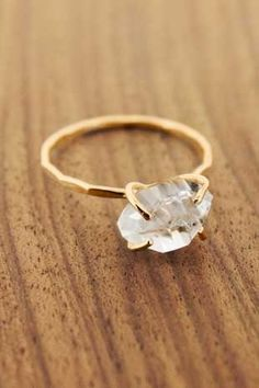 Herkimer Diamond Solitaire Ring by Melissa Joy Manning