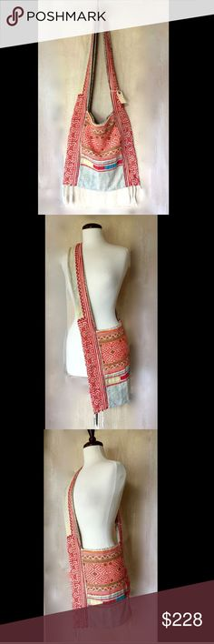 """Free People Vintage Loves OOAK Woven Embroidered Free People Vintage Loves Woven Embroidered Crossbody Bag One Of A Kind  ivory tan, orange, green blue, yellow, multi embroidered & patched soft woven fabric cross body / shoulder bag  * inside is lined in tan fabric with no slips retail price:  $248.00   * in Fabulous condition for Vintage MM  16""""W  x  16""""H   x  1""""D 6"""" wide fabric strap 20"""" drop Free People Bags Crossbody Bags"""