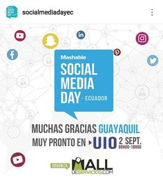 """""""ESTE 2 DE SEPTIEMBRE EN QUITO se realizara el Mashable Social Media Day - Ecuador  Social Media Day Ecuador!  El evento mas grande de Marketing Digital por primera vez en Quito!  Los mejores profesionales de la industria expondrán sus conocimientos para capacitarnos en todo lo que concierne al Marketing Digital y poder orientar resultados para que aumenten nuestros clientes y ventas.  Cupos Limitados!  Quito: Fecha: Sabado 2 de Septiembre, 09:00 Lugar: Hotel Dann Carlton  En este congreso…"""