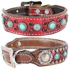 A red leather dog collar featuring alligator embossing, Turquoise stones and Swarovski Crystals.