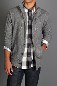 Grey Zip Hoody with Button Details
