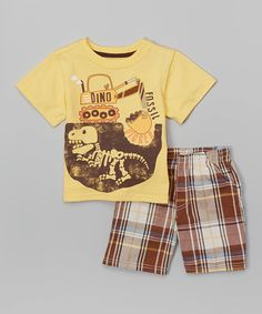 Look at this BOYZ WEAR Yellow 'Dino Fossil' Tee & Plaid Shorts - Toddler on #zulily today!