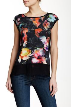 Edista - Wild Flower Cap Sleeve Chiffon Combo Tee at Nordstrom Rack. Free Shipping on orders over $100.